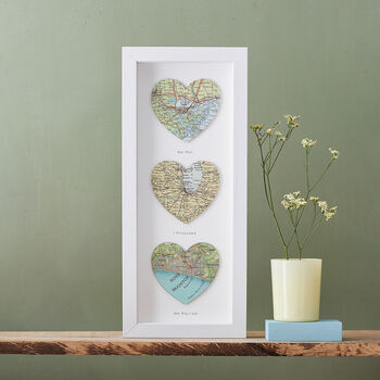 Three map heart wedding print in a white frame