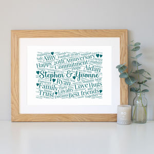 Personalised 20th Anniversary Word Art Gift - dates & special occasions