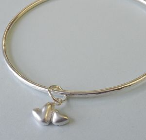 Double Heart Silver Charm Bangle