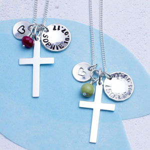 Sterling Silver Cross, Name And Birthstone Necklace - christening jewellery