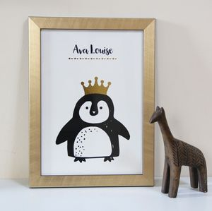 Children's Penguin Art Print With Gold Foil - shop by price