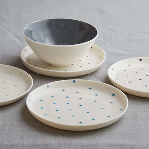 Handmade Porcelain Spotty Plate - dining room