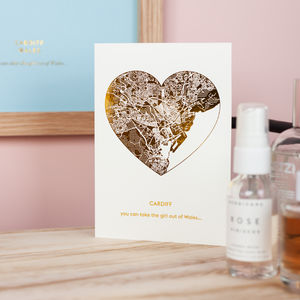 Metallic Foil Heart Shaped Map Greetings Card