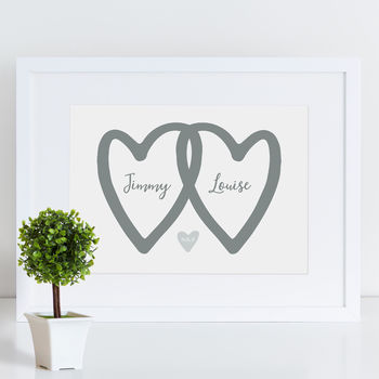 Personalised Hearts Wedding Print