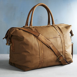 Personalised Canvas And Leather Holdall With Tag - holdalls & weekend bags
