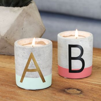 Personalised Set Of Two Candles With Initial