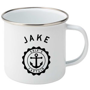Personalised Ship's Captain Silver Rimmed Enamel Mug