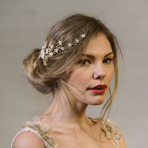 Sylvie Crystal And Pearl Wedding Hair Vine Bridal Comb - women's accessories