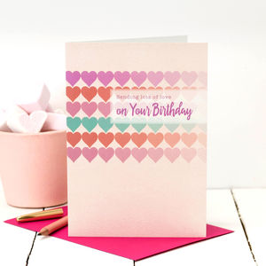 Birthday Card 'Sending You Lots Of Love…' - birthday cards