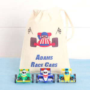 Three Toy Race Cars With Personalised Cotton Bag - personalised gifts