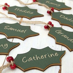 Eight Personalised Holly Xmas Tags