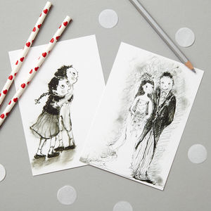 Caragh Susan's Black And White Postcard Set - writing