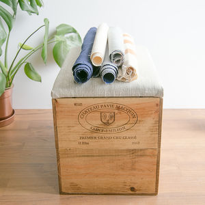Custom Fabric Wooden Wine Crate Blanket Box