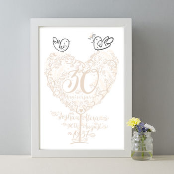 Personalised 30th Anniversary Gift Pearl Wedding Print