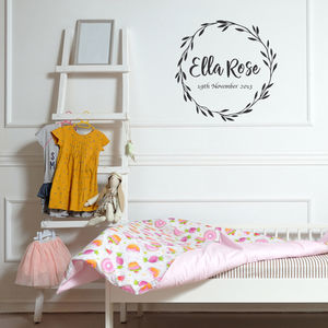 Personalised Name And Date Of Birth Wreath Wall Sticker