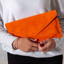personalised orange suede clutch bag