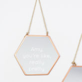 Engraved Geometric Copper Mirror - home