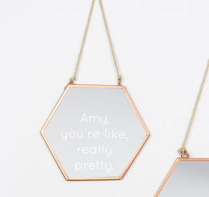 Engraved Geometric Copper Mirror - home accessories