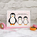 'Penguins' Birthday Or Christmas Card From Children