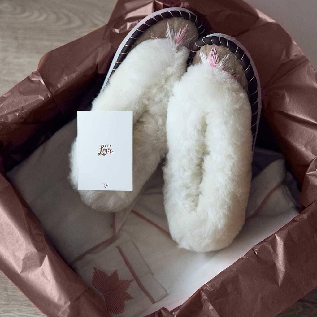 Sen Rose Gold Cotton Pyjamas And Slippers Gift Set