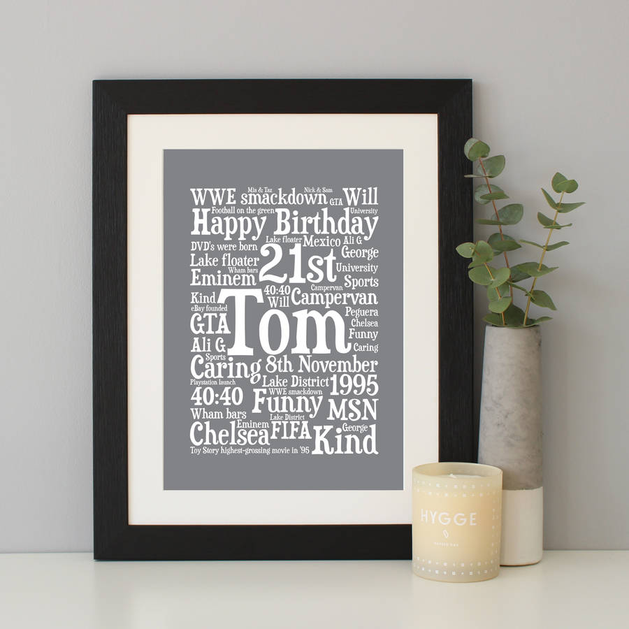 personalised 21st birthday word art gift by hope and love ...