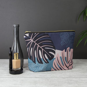 Large Midnight Tropical Jungle Wash Wag/ Clutch Bag - make-up bags