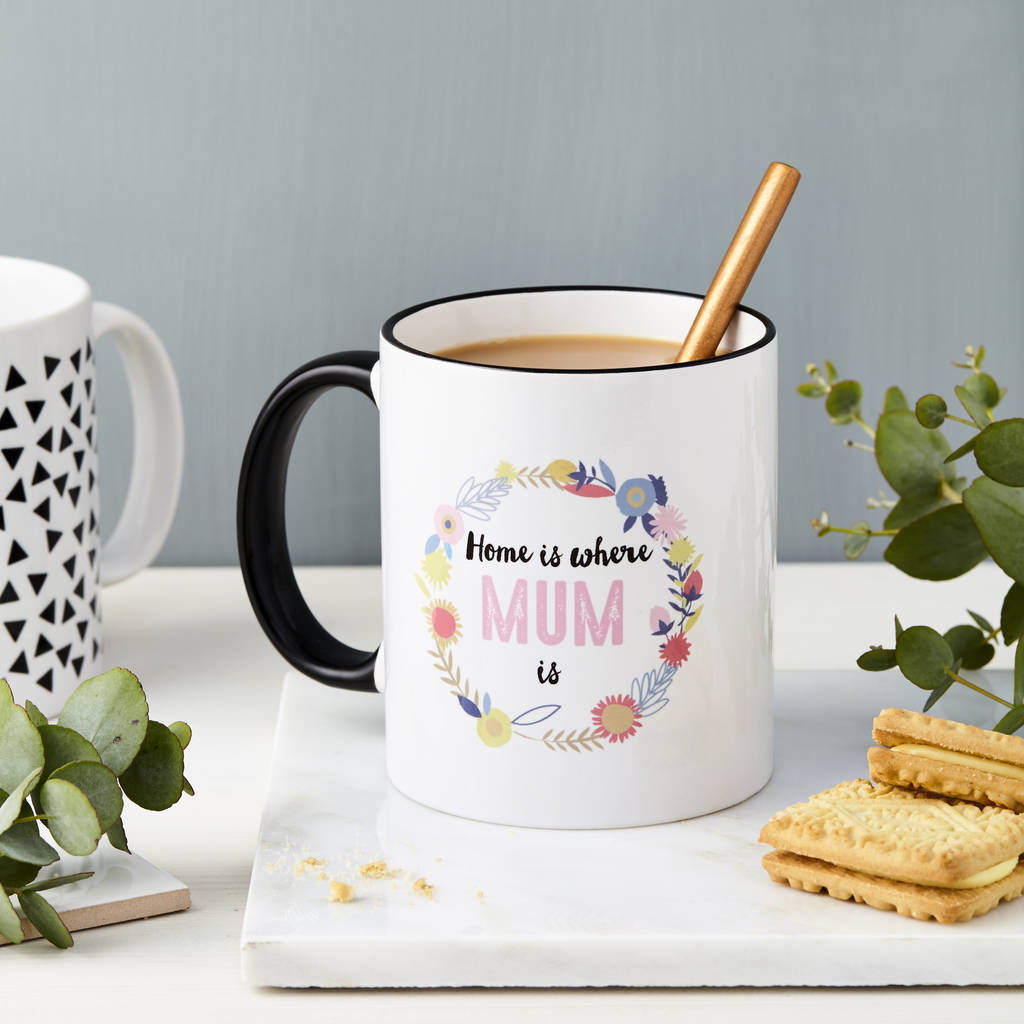 Floral Personalised Home Is Where Mum Is Mug By Tillie Mint Loves