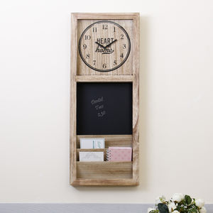 Wall Mounted Letter Rack, Chalkboard And Clock - clocks