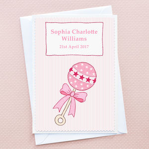 'Baby Girl Rattle' Personalised New Baby Card