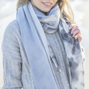 Blue And Grey Faded Edge Scarf