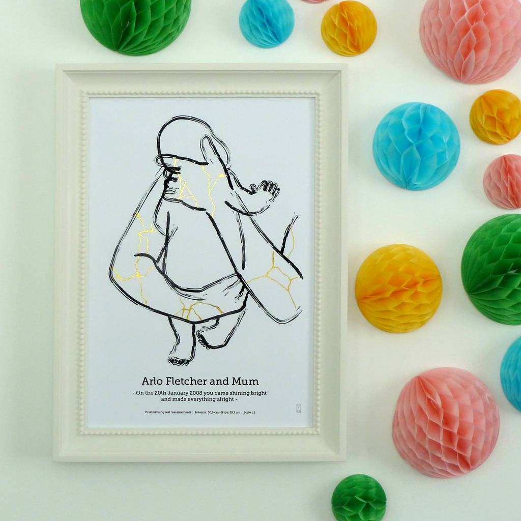 'The Rainbow' Personalised Rainbow Baby Foil Print