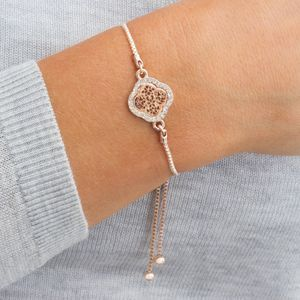 Personalised Pave Filigree Clover Bracelet
