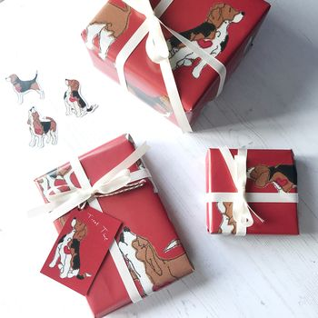 Beagle Giftwrap Red