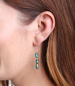 Apatite Quartz Three Drop Ear Threads - earrings