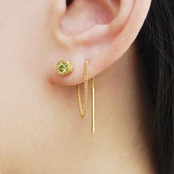 Peridot Birthstone Gold Threader Chain Earrings