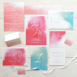 'Love Haze' Watercolour Wedding Stationery Set - invitations
