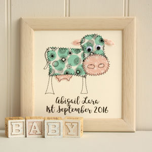 Personalised Cow Embroidered Framed Artwork