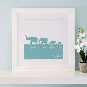 Personalised Herd Of Elephants Family Print - mother's day gifts