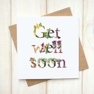 Personalised Floral Get Well Soon Card - cards sent direct