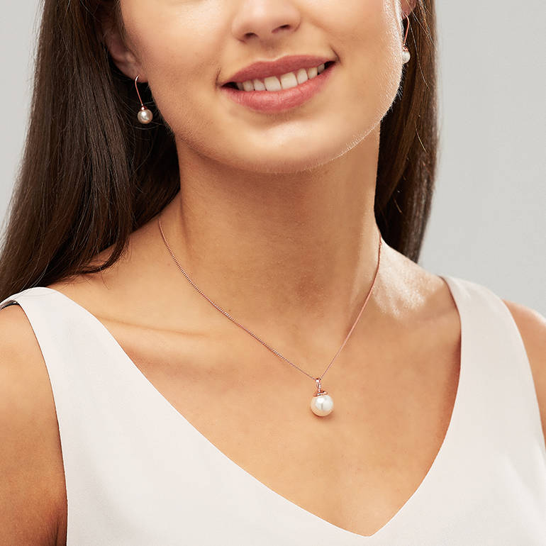 Rose Gold Pearl Necklace And Earring Set Off White Swarovski Pearls