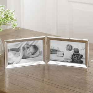 Silver Oblong Double Hinged Photo Frame