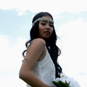 Hermia Rhinestone And Pearl Bridal Crown Halo - bridal hairpieces