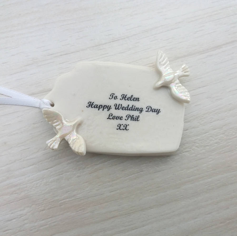 Homemade Wedding Gift Tags : handmade porcelain wedding gift tag with doves by melissa choroszewska ...