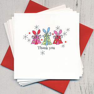 Pack Of Five Christmas Thank You Cards - christmas sale