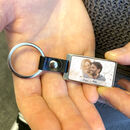 Personalised Photo Leather And Metal Landscape Keyring