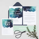 Helena Navy Botanical Watercolour Wedding Invitations