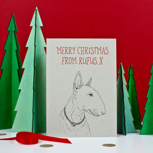 Bull Terrier Christmas Card - cards