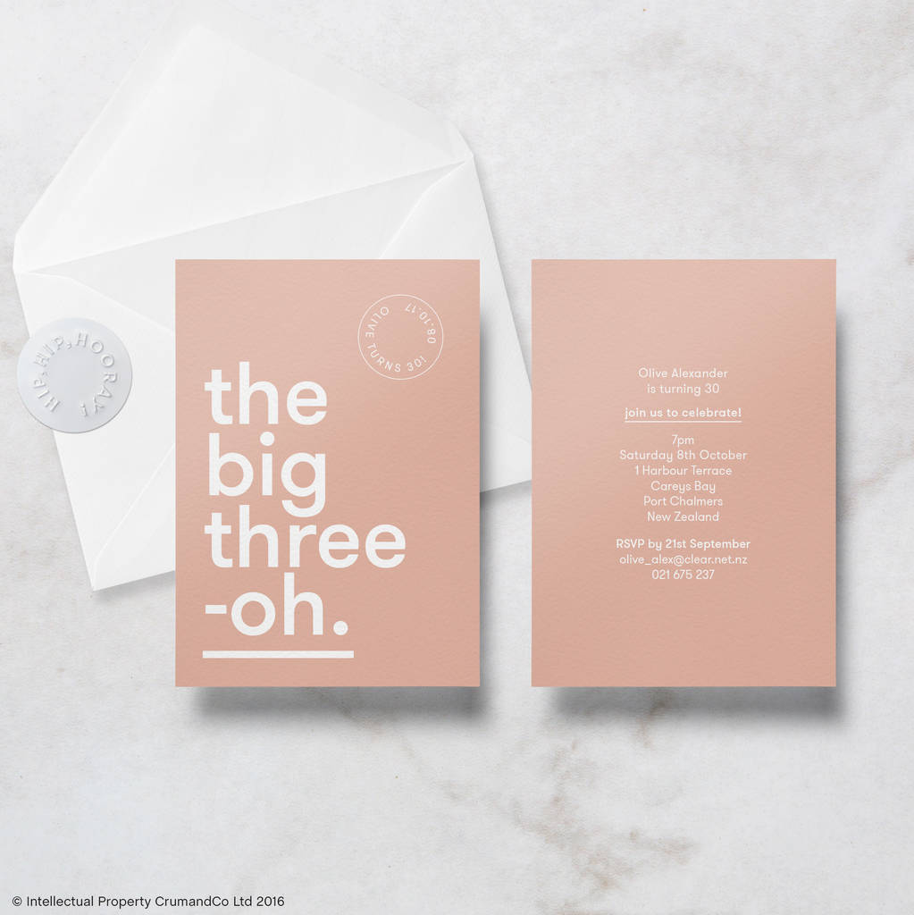 modern minimal 30th birthday invitations with envelope by crumco