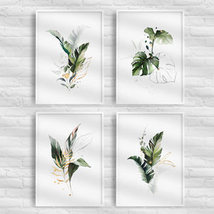 Tropical Leaf Print Set Of Four Illustration Green Gold
