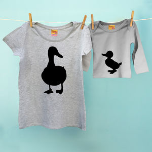 Animal Outfit Duck / Duckling Mum And Baby T Shirt Set - babies' t-shirts